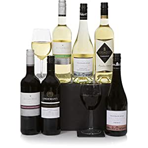 Australian Six Bottle Wine Selection - Mixed 6 Bottle Wine Gift Box - Classic Red & White + Sparkling Wines From Australia