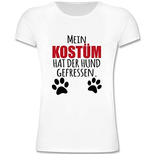 Karneval & Fasching Kinder - Mein Kostüm hat der Hund gefressen - schwarz/rot - 128 (7/8 Jahre) - Weiß - F131K - Mädchen Kinder T-Shirt