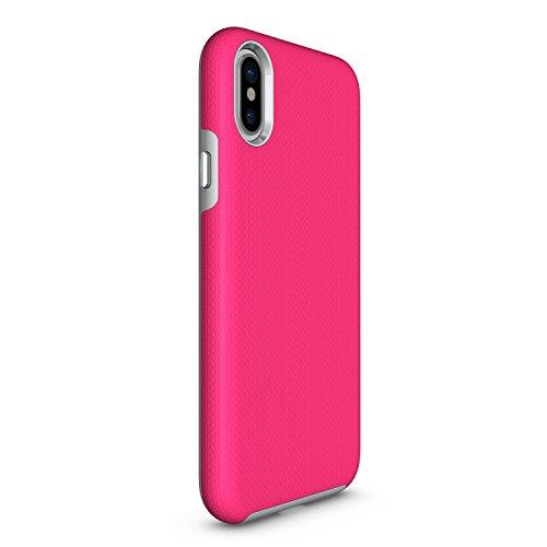 Apple iPhone X Schutzhülle,ultradünn TropfsSchutz Erschütterungs-Resistent Hybrid Doppelschicht Erschütterungsschutzhülle das für iPhone X Abdeckungshülle (Lila) Rose