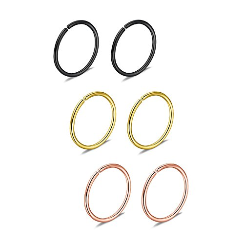 Briana Williams 6er Nasenpiercing Nasenring Fake Nasen Hoop Ring 22G 20G 18G 16G 6/8/10/12mm Chirurgenstahl Piercing Schmuck -