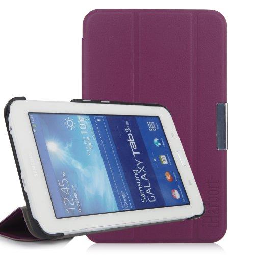 iHarbort® Samsung Galaxy Tab 3 7.0 Lite custodia in pelle, premio multi-angoli protettivo di peso leggero Case Cover custodia in pelle per Samsung Galaxy Tab 3 7.0 Lite SM-T110 SM-T111 SM-T113 SM-T116 Holder, viola