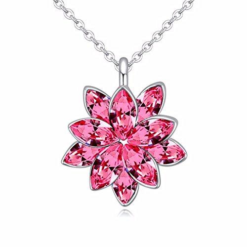 Yiyue  collana pendente la signora bella collana collana di cristallo fiore di loto e ciondoli donna elegante collana rosso gioielleria atmosfera incantevole.