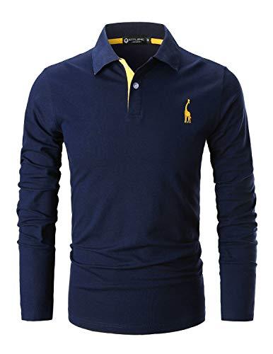 STTLZMC Poloshirt Herren Langarm Basic T-Shirt Freizeit Giraffe Stickerei Polohemd,Blau 1,L -