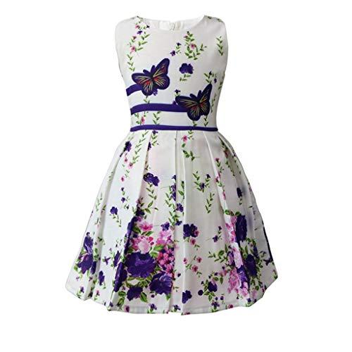 JUTOO Kinder Baby Mädchen ärmellose Blumen Bowknot Print Party Princess Dress (Lila,140)