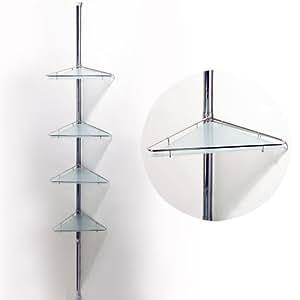 POLE Extending Four Tier Metal Glass Corner Wall Shelf Silver Amazon C