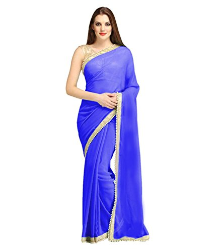 Sarees(V Art Blue Chiffon Embellished Beads(MOTI) Lace Saree With Gold Brocade Blouse)