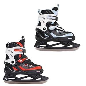 Best Sporting Schlittschuhe größenverstellbar, kältebeständig bis -20 Grad, wasserdicht und wärmeisolierend, schwarz/rot oder schwarz/blau