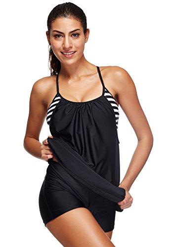 ALICECOCO Damen Retro Polka Schwimmen Kostüm Kleid Plus Size One Piece Bademode mit Boyshort Bottom(FBA) (EU 40--42 ( XL ), Blaue Streifen)
