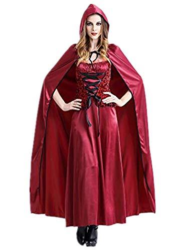 Sally Steampunk Kostüm - Auiyut Damen Rotkäppchen Kostüm Halloween Weihnachten Karneval Cosplay Gothic Riding Hood Kleid Unterrock und Umhang mit Kapuze Fasching Partykleid