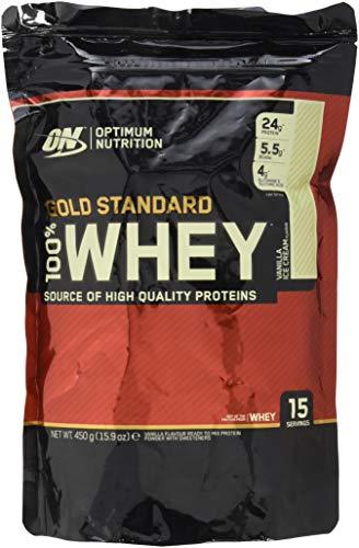 Optimum Nutrition Gold Standard Whey Eiweißpulver (mit Glutamin und Aminosäuren. Protein Shake von ON), Vanilla Ice Cream, 14 Portionen, 450g