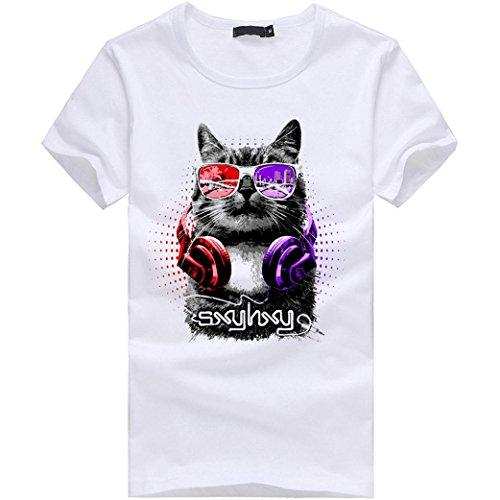 Amlaiworld Herren Kühles Fahnen-Druck-T-Shirt, neue Art-Kurzschluss-Hülsen-Hemden S~XXXXL (XL, Weiß)