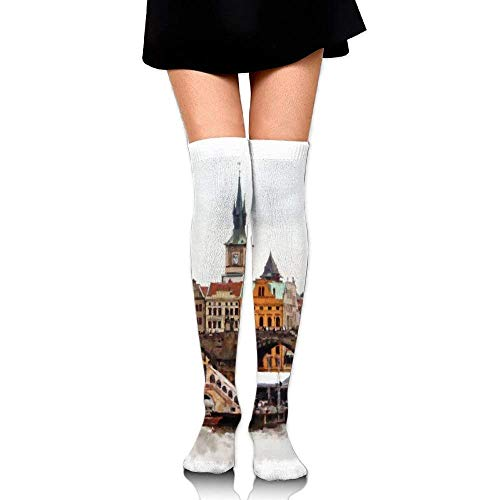 OQUYCZ Womens European Country Landscape with Houses and River Watercolored Like Warm High Boot Socks