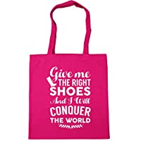 HippoWarehouse Give me the right shoes and I will conquer the world boots Tote Shopping Gym Beach Bag 42cm x38cm, 10 litres
