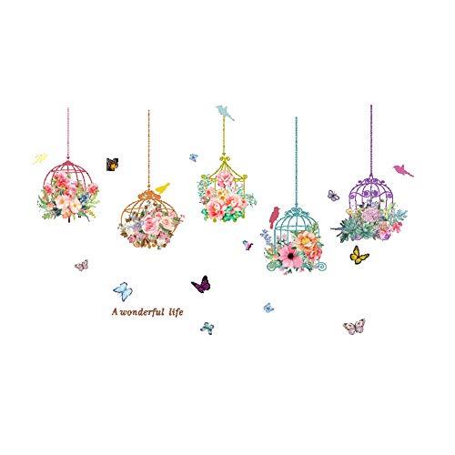 Lumanuby. 1x Bunt Vogelkäfig voller blühender Blumen Wandaufkleber mit Schmetterling und Vogel Abnehmbar 'A Wonderful Life' Wand Decal für Schrank Glasfenster Wand, Wandtattoo Serie 120x78cm -