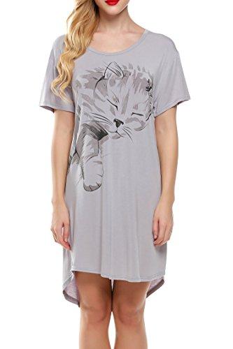Ekouaer Damen Weich Nachthemd Sleepshirt Schlafanzug Buchstabe Druck-lose Negligee Nachtwäsche Pyjamas Kurz Nachtkleid Grau