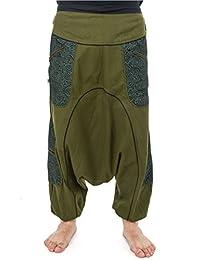 - Baggy sarouel ethnic homme urban teufer psychedelic poches zip kaki et noir -