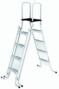Ladder platform access for above ground swimming pool - Above ground pool platform ...