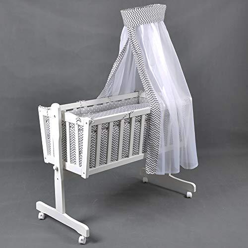 Berceau bébé complet - Lit bébé - Lit de salon - Berceau bébé complet - Berceaux HONEY BEE blanc/gris 51366