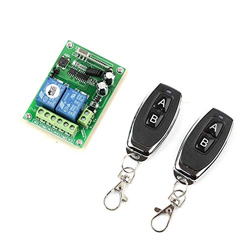 ForceSthrength 12V / 24V 2 CH Funkfernschalter 433MHz Two Keys Remote Control Schwarz -