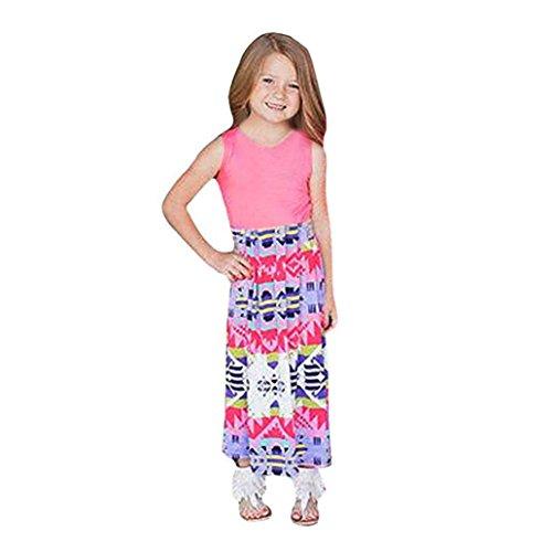 Goodsatar Mutter Tochter Ärmellose Gedruckte Stitching Kleid Beiläufige Familie Kleidung Mädchen Kleid (7Y, Kinder)