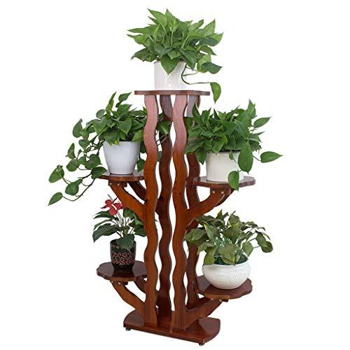 GWFVA Blumenständer Massivholz Pflanze Ausstellungsstand Topfgestell Balkonständer Boden Mehrschichtregal Wohnzimmerregal Montage Blumentopfgestell -