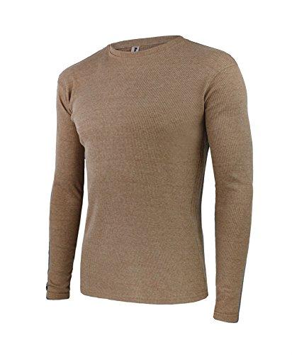 Herren Rundhals Gerippt Baumwolltop Langärmeliges Jersey T-Shirt Kamel
