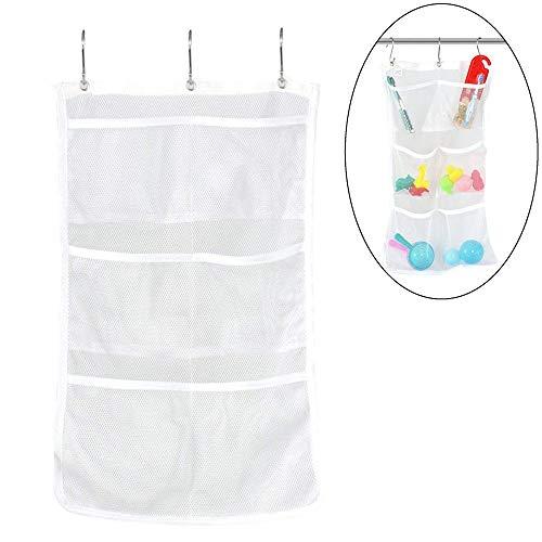 Quick Dry Zum Aufhängen Bad Organizer Aufbewahrungstaschen Aufbewahrungsbeutel mit 6 Taschen Hängen Sie auf Duschvorhang Rod rutschsicher Haken Dusche Organizer Mesh Zubehör - Rod Caddy