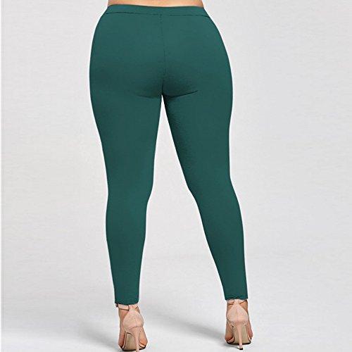 Bliefescher Leggings Collants Fitness Stretch Pantalons Fleur Dentelle Mince Taille Haute Vert