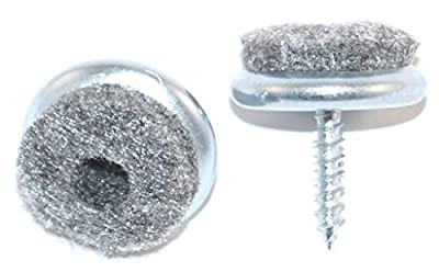 Set of 16 Felt Pads for Furniture / Chairs Floor Protection with Fixing Screw 20 mm Nickel-Plated