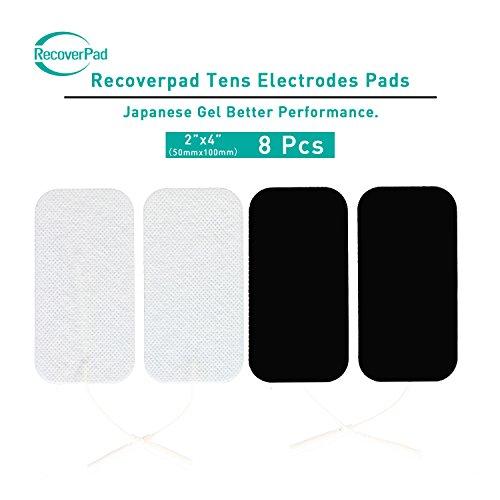 RecoverPad 8pcs 50x100mm Profesional TENS Electrodos,3rd Gel japonés Sin látex Electrodos(CE/FDA Aprobado),Mejor desempeño autoadherente para electroestimuladores TENS EMS