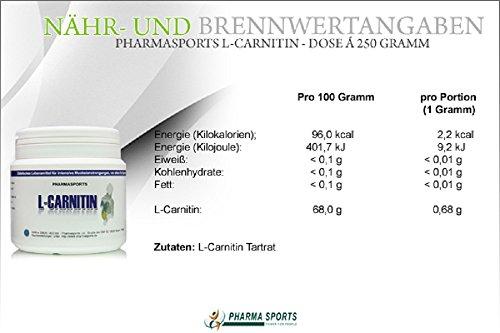 Reines L-Carnitin Pulver 250g : Spitzen Qualität 100% reines Pulver Aminosäure Energie Stoffwechsel