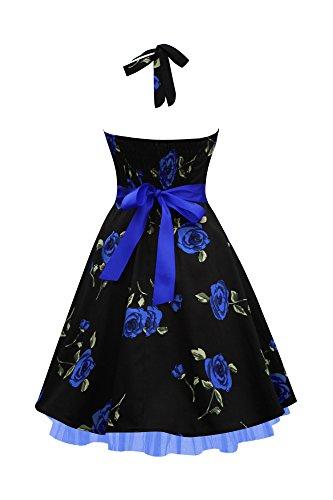 Black Butterfly Robe Années 50 Vintage Infinity 'Rhya' Grosses Roses Bleus