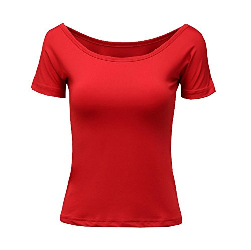 Wgwioo Erwachsenen Square Dance Latin Dance Kleid Mit Kurzen Ärmeln T-Shirt , Big Red , Xxl
