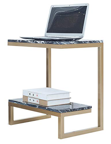Table d'appoint/Petite Table Basse en marbre carrée, marbre, Salon, Salon Minimaliste Moderne, Double côté, Gris argenté (50 × 35 × 55cm)