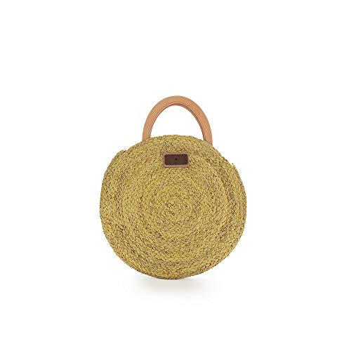 PACO MARTINEZ | Bolso rafia circular amarillo con asa bandolera