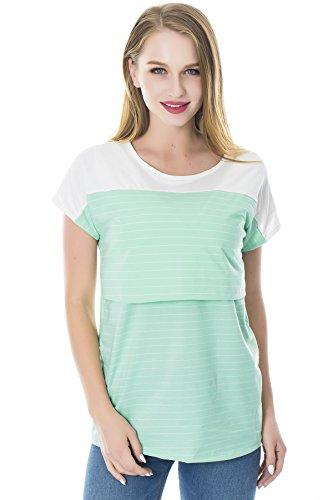 Smallshow Stillshirt Kurzarm Umstands Tshirt Umstandstop Umstandsmode Stilltop Baumwolle Schwangerschaft Streifen Shirt, Grün, L