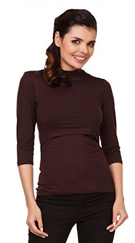Zeta Ville - Top de grossesse col roulé - couches d'allaitement - femme - 987c Chocolat