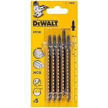 DeWalt DT2165-QZ - Hoja de sierra de calar HCS, longitud: 100mm, paso de diente: 2.5mm, para cortes rectos finos en madera, aglomerado, contrachapado, laminado y plástico hasta 30mm de espesor