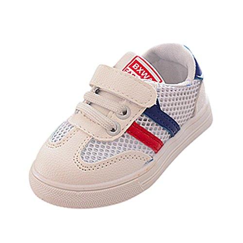 SOMESUN Fashion Baby Jungen Mädchen Sport Schuhe Kinder Hohl Weiche Sohle Elastisch Atmungsaktiv Mesh Klassisch Gestreift Beiläufig Freizeit Turnschuhe (EU20, Blau)