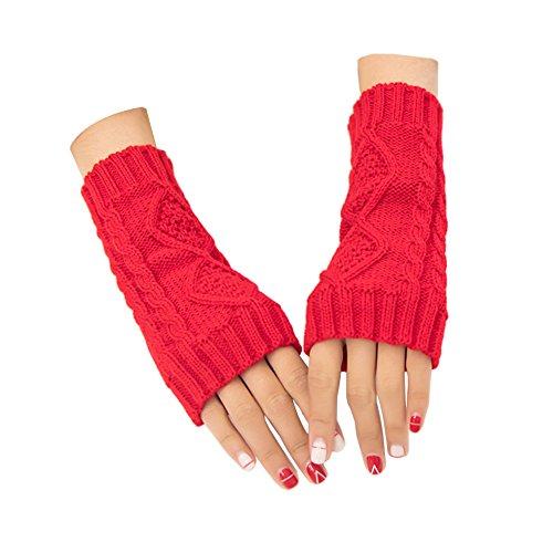ZYHstore Damen Mädchen Häkeln gestrickte Halb fingerlose Handschuhe Handwärmer Pulswärmer Rhombus-Muster Winter warme Handschuhe mit Daumenloch (Rot) (Handgelenk-handschuh Palm, Stricken)