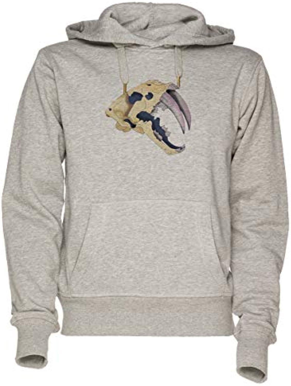 Jergley Sabertooth Grigio - Sabertooth Tigre Maglietta Unisex Grigio  Sabertooth Felpa con Cappuccio Uomo Donna Unisex Sweatshirt... 878464 e3c85735bf82
