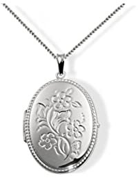 Goldmaid Women's 925 Sterling Silver Necklace locket 45cm with Flower Adornment