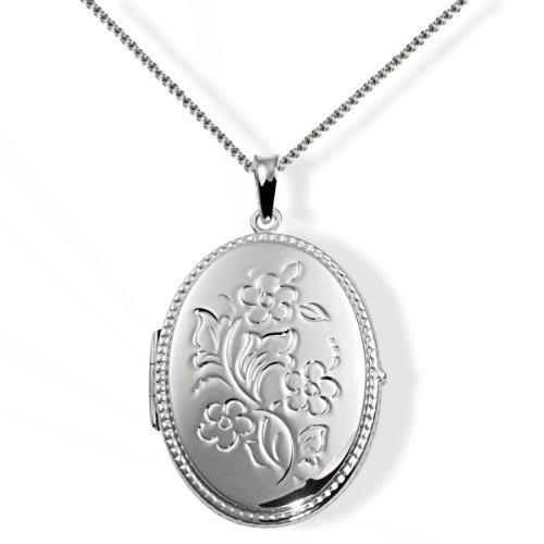 Goldmaid Damen-Halskette 925 Sterling Silber Medallion Blumen 45 cm Fo C3290S Kettenanhänger Schmuck (Silver-medallion-anhänger)