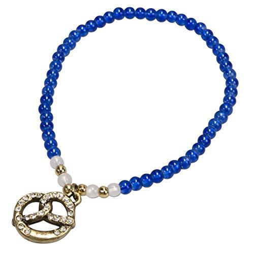 Alpenflüstern Filigran Perlen-Trachten-Armband Strass-Brezel - Damen-Trachtenschmuck mit antik-Gold-farbener Breze und Strass-Salz, elastische Trachten-Armkette, Perlenarmband blau DAB047