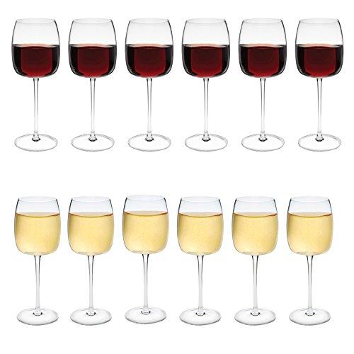 Estilo - Verres en cristal - vin rouge/vin blanc - lot de 12 verres - 450 ml/385 ml