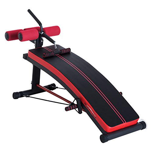 HOMCOM Trainingsbank Sit-Up-Bank Bauchtrainer Multifunktion mit Trainingsbändern Fitness Stahl Schwarz L140 x B73 x H57cm