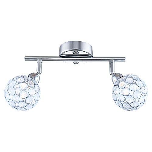 Decken Spot Strahler Wohnraum Lampe Kristall Balken Chrom Leuchte schwenkbar Globo 56634-2 -