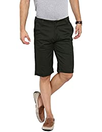 Showoff Men's Olive Solid Chino Shorts