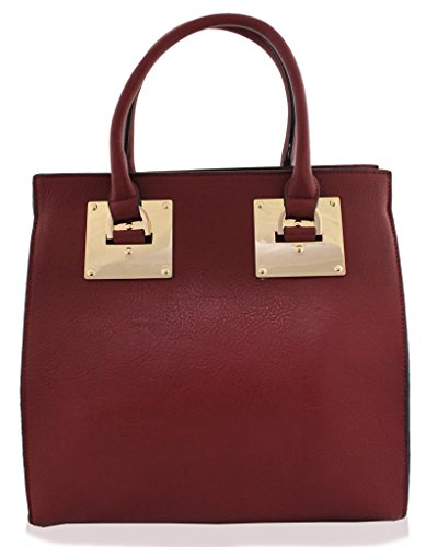 Kukubird Large Faux Leather Designer Handbag With Gold Metal Plate BURGUNDY
