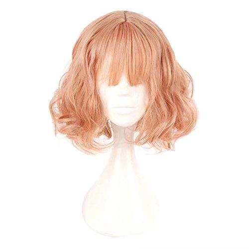 Lisanyeu Frauen 35cm Flat Bangs mittleren Teil Haar Pastell rosa schöne Mädchen tägliche Cosplay Perücke (Männlich Rosa Perücke)